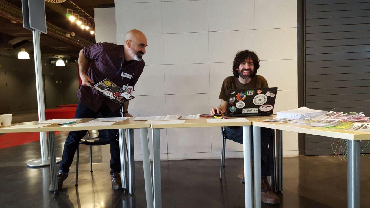 Enric Senabre, P2Pvalue/Dimmons Research, and Samer Hassan, P2Pvalue/UCM at the Commons Collaborative Economies event